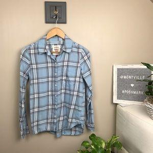 SO Perfect Shirt XS Blue Plaid Long Sleeve Flannel